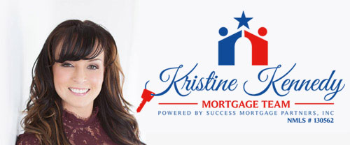 Mobile Header for Kristine Kennedy - Headshot and Logo